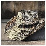 HUANG-WEI-MZ, Moda con Trabajo de Mano Banda de la Borla Sombrero de Paja de Las Mujeres Western Cowboy Hat Verano Elegante Señora Vaquera Sombrero Sombreros para el Sol Sombrero de Jazz