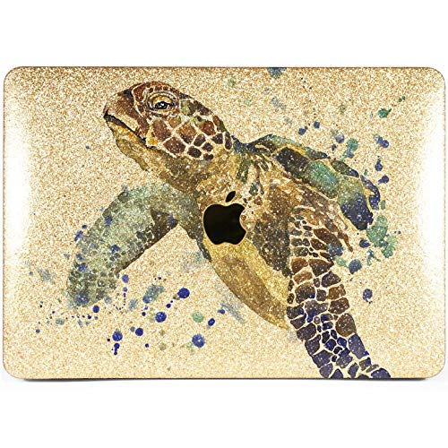 Lex Altern Glitter Case for Apple MacBook Air 13 inch Pro Mac 15 Retina 12 11 2020 2019 2018 2017 Turtle A1932 Sparkly Watercolor Cover Hard Animal Ocean Bling Protective Silver Gold Glossy Blue Sea