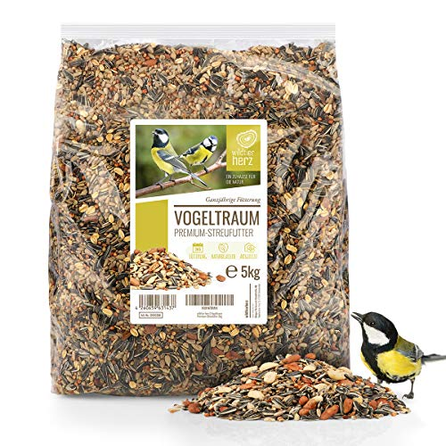 wildtier herz | Vogeltraum Premium Vogelfutter ohne Weizen für Wildvögel I Ganzjahresfutter mit Sonnenblumenkerne I Wildvogelfutter I Vogel Streufutter, Fettfutter für Vögel (5kg)