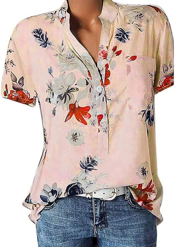 LanWi Women Floral Printing Pocket Plus Size Short Sleeve Blouse Easy Top Shirt Bohemian Blouse