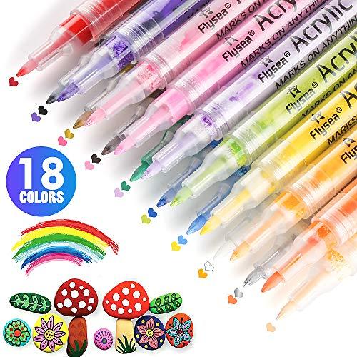 Rotuladores de Pintura Acrílica, Rotuladores Para Pintura de Piedra, Madera, Tela, Plástico, Vidrio, Cerámica, Bricolaje de Pintura Acrílica a Base de Agua Juego de 18 Colores, Punta de 0.7 mm