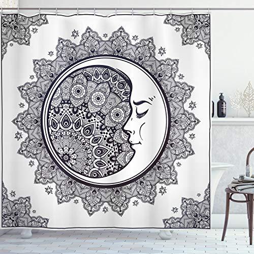ABAKUHAUS Duschvorhang, Halbmond Mandala Symbol Muster Kultur Mond Déco Design Digitales Druck Muster Schwarz-Weiß, Wasser & Blickdicht aus Stoff mit 12 Ringen Schimmel Resistent, 175 X 200 cm