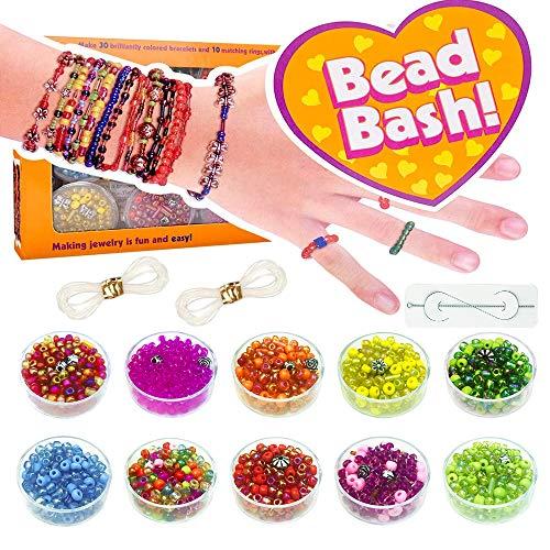 Bracelet Making Kit Girls Toy Age 5 6 7 8 9, Girls Gift Charm Bracelets Bead Kit for 6-11 Girls Children Birthday Present Bracelet Kit for Kid Girl 7 8 9 Year Old Girl DIY CraftS Ropes Bead Kit
