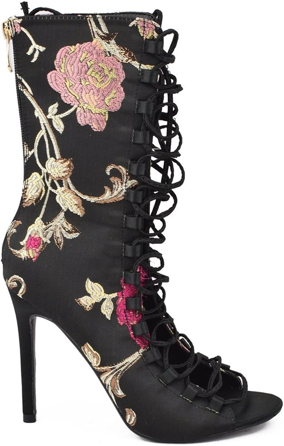 Floral Embroidered Lace up Satin Fabric Boot Black