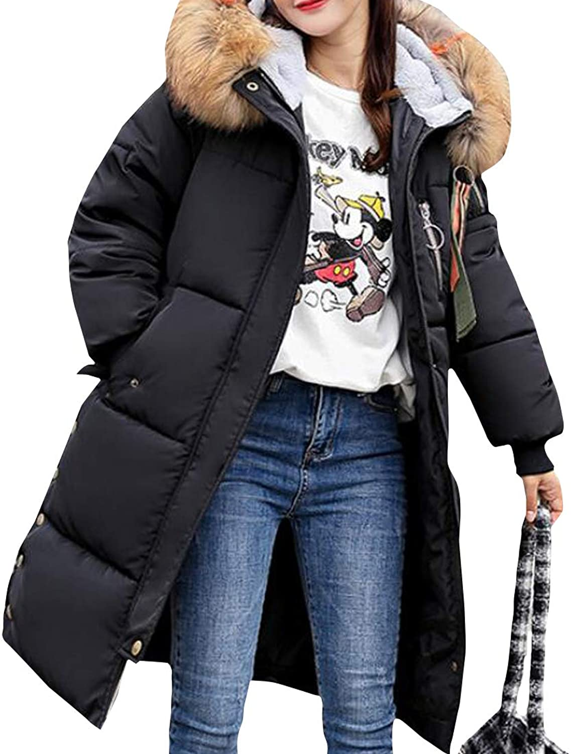 JSY Women's Outerwear Down Coat Warm Hooded Winter Quilted Faux Fur Collar Parkas Coat