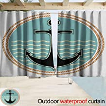 Zmacdk Grommet Curtain Anchor Nautical Symbol with Wavy Ocean Background and Anchor Silhouette Naval Arrangement Darkening Thermal Insulated Blackout W63 x L45 Multicolor