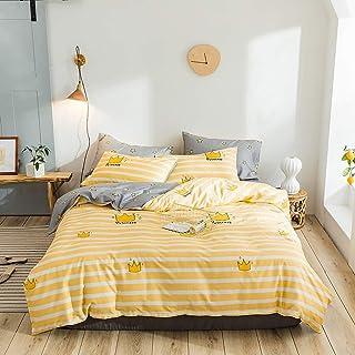 Ropa de cama blanca con rayas amarillas Funda nórdica Queen Colchas blancas y amarillas Completo for niñas Funda de edredón amarillo Sábanas de doble estrella Colcha Colcha Colcha en amarillo y gris Q