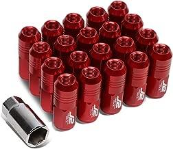 J2 Engineering LN-T7-007-15-RD Red 7075 Aluminum M12X1.5 20Pcs L: 50mm Close End Lug Nut w/Socket Adapter