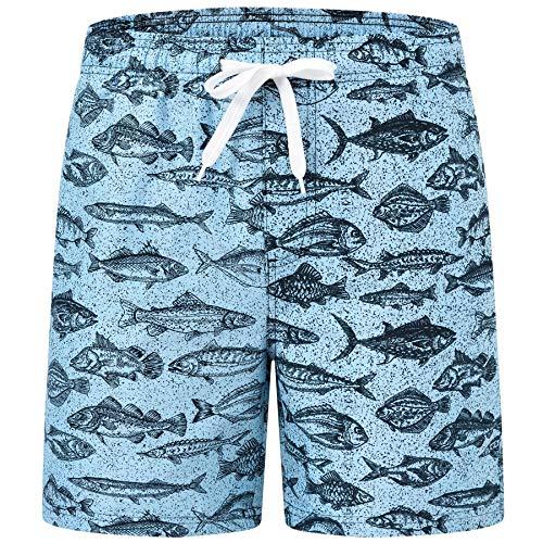AIRIKE Schwimmshorts Jungen Schnell Trocknend Badehose Sommer Badeshorts mit Kordelzug Blau Fisch L/DE 152-158