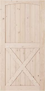 SmartStandard 42in x 84in Sliding Barn Wood Door Pre-Drilled Ready to Assemble, DIY Unfinished Solid Hemlock Wood Panelled Slab, Interior Single Door Only, Natural, Arc & Single X-Frame (Fit 8FT Rail)