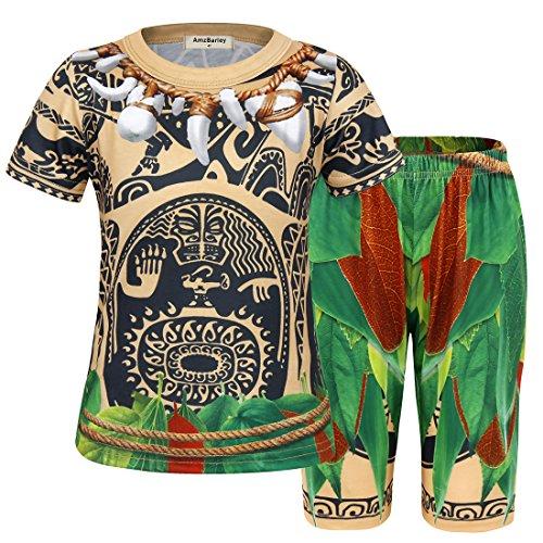 AmzBarley Pijamas Maui para niños Moana Maui Pijama PJS Set Pijama para Niños Pijama Tops y Pantalones