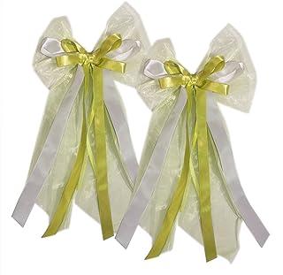 20 Autoschleifen Hochzeit Groß, Antennenschleifen 19 x 45 cm, Weiß Grün für die Autodeko, Autoschmuck für das Hochzeitsauto im Set