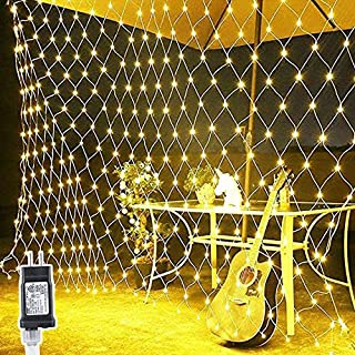 BATTIFE LED Lights Net 10ft X 6.6ft 200 Mesh String Lights 8 Modes Low Voltage for Christmas Trees, Bushes, Wedding Party, Garden, Bedroom Decorations (Warm White)