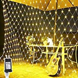 LED Lights Net 10ft X 6.6ft 200 Mesh String Lights Low Voltage with 8 Modes for Christmas Trees Bushes Wedding Party Garden Bedroom Indoor Outdoor Decorations (Warm White)