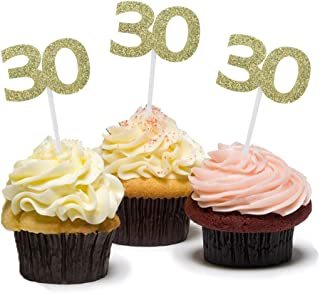 HZOnline Golden 30th Birthday Cupcake Cake Toppers, Glitter Number 30, Birthday Celebrating, Anniversary Party Decor (24PCS)