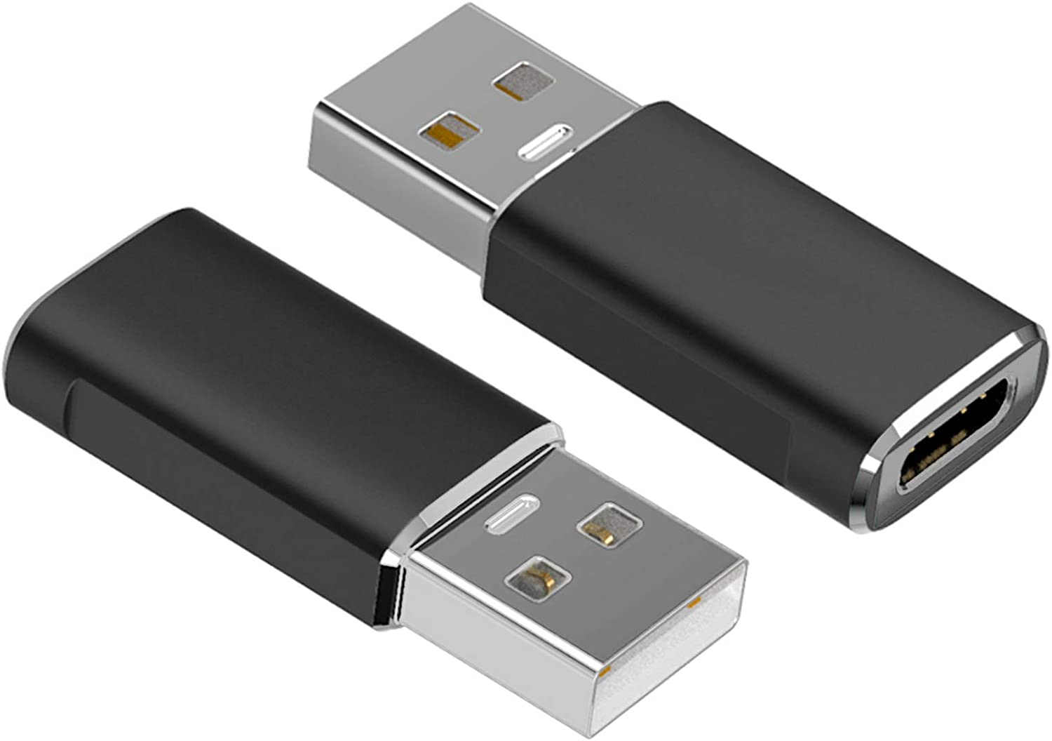 USB C Female to USB 3.0 Male Adapter(2-Pack), BrexLink Type C to USB A Adapter, Compatible with Laptops, Power Banks, Chargers, and More Devices with Standard USB A Ports (Black)
