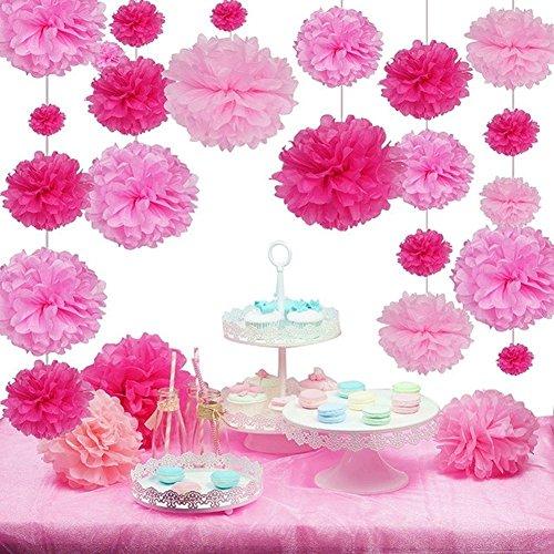 SUNBEAUTY 27er Set Pink Rosa Serie Seidenpapier Pom Poms Blumen Hochzeit Party Hanging Dekorations