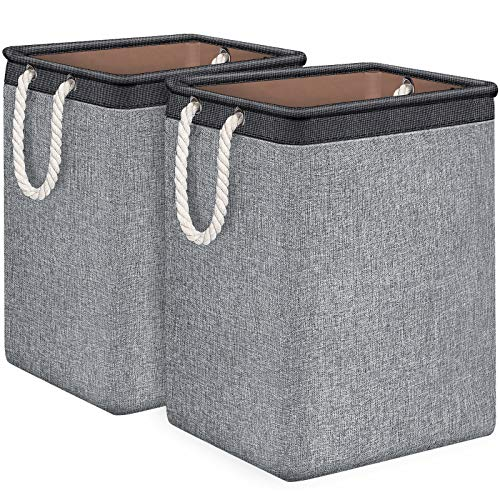 TomCare Laundry Baskets 2 Pack Foldable Clothes Baskets Portable Clothes Hamper Built-in Lining with Handles Detachable Brackets Laundry Storage Household Organizer for Home Office Organizer Grey