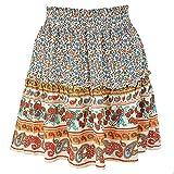 Vintage Cintura EláStica Estampado Floral Volantes Mini Faldas Moda Verano Bohemio Indie Folk Falda Casual Playa Vacaciones
