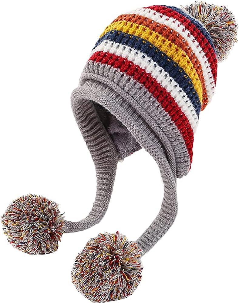 Epsion Women Pompom Knitted Beanie Hats Warm Fleece Lined Knit Hat Cute Outdoor Skull Cap