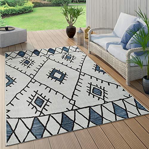 Paco Home Tapis Intérieur & Extérieur Tissage À Plat Géométrique Abstrait Design Losanges Ethnique Bleu, Dimension:120x160 cm