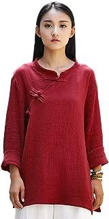 Soojun Women's Long Sleeve Linen Top Blouses with Split Sides