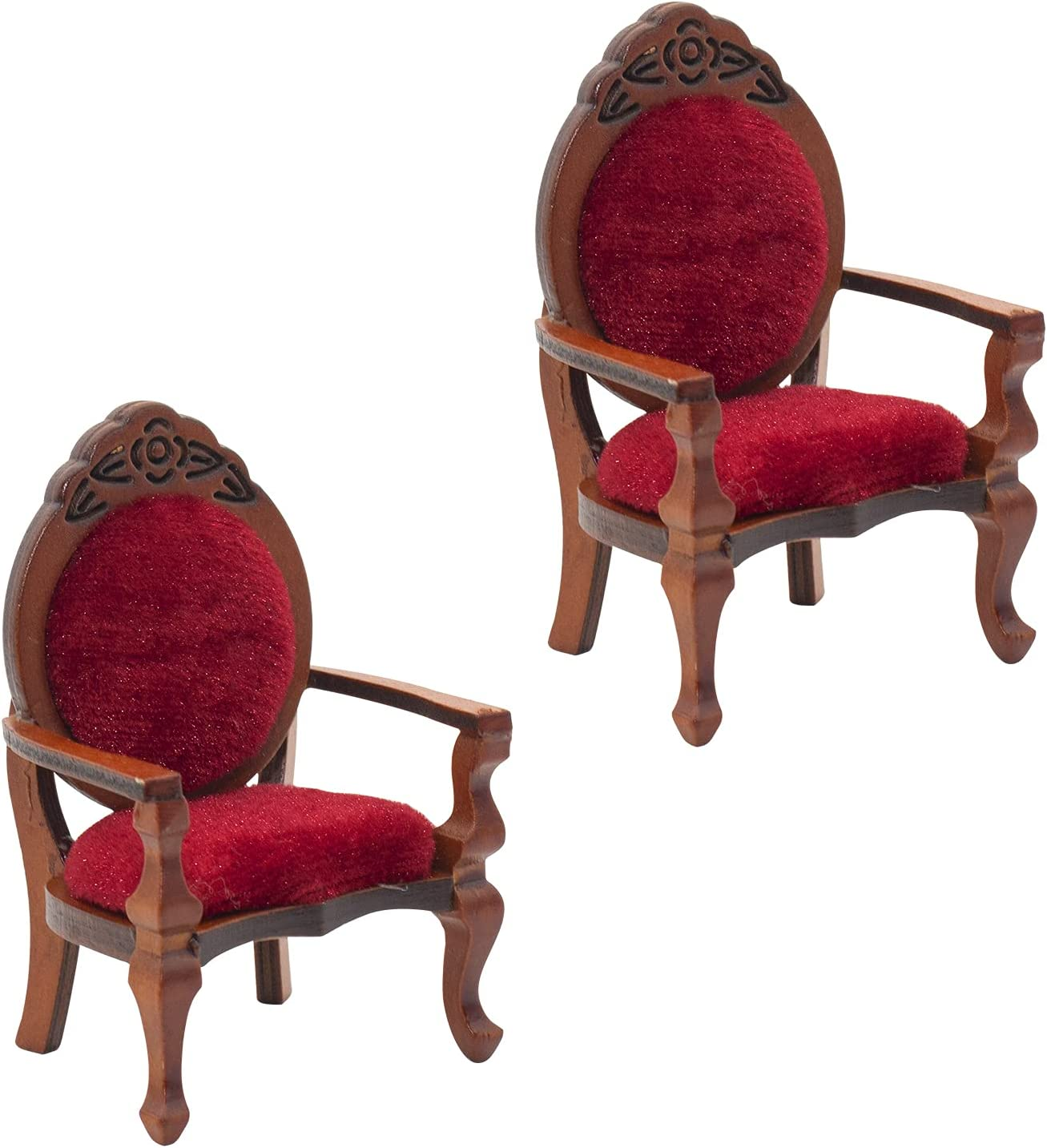Hiawbon 2 PCS 1:12 Miniature Dollhouse Furniture Wooden Carved Single Sofa Chairs Vintage Red Armchairs for Dollhouse Accessories Furniture Decoration Birthday