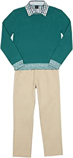 Nautica Boys' Toddler Three Piece Set with Sweater, Woven Shirt, and Twill Pant