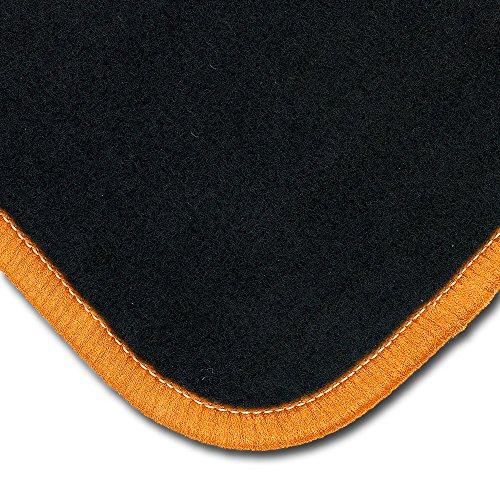 Bär-AfC MI07143n Classic Auto Fußmatten Nadelvlies Schwarz, Rand Kettelung Orange, Set 4-teilig, Passgenau für Modell Siehe Details