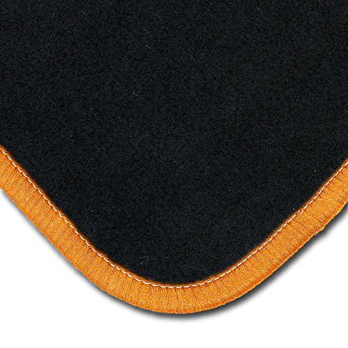 Bär-AfC TR04029 Classic Auto Fußmatten Nadelvlies Schwarz, Rand Kettelung Orange, Set 1-teilig, Passgenau für Modell Siehe Details