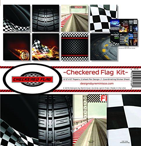 Reminisce Checkered Flag Scrapbook Collection Kit Sammelset mit Karierter Flagge