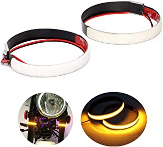 Motorcycle Fork LED Turn Signal Strip Lights Kit Smoked Lens for Harley Davidson Victory Universal Super Bright and Waterproof Motor Lamp (39mm - 41mm) - 2pcs / amber