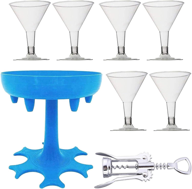 Kathrin Soporte de vidrio para licor, dispensador portátil para líquidos de llenado de 6 vasos de chupito dispensador de cerveza de plástico, juegos de beber (gris/azul)