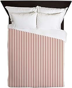 CafePress Red Ticking Queen Duvet Cover, Printed Comforter Cover, Unique Bedding, Microfiber