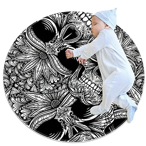 Alfombra de cocina lavable para entrada, alfombra de escritorio, alfombra de baño, diseño de calavera, color negro y blanco, 39.4 x 39.4 pulgadas