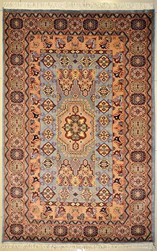 Tapis oriental vert bleu tribal bokhara original fait main en laine design élégant authentique motif tribal symétrique pour salon, chambre à coucher, entrée 137 cm x 200 cm