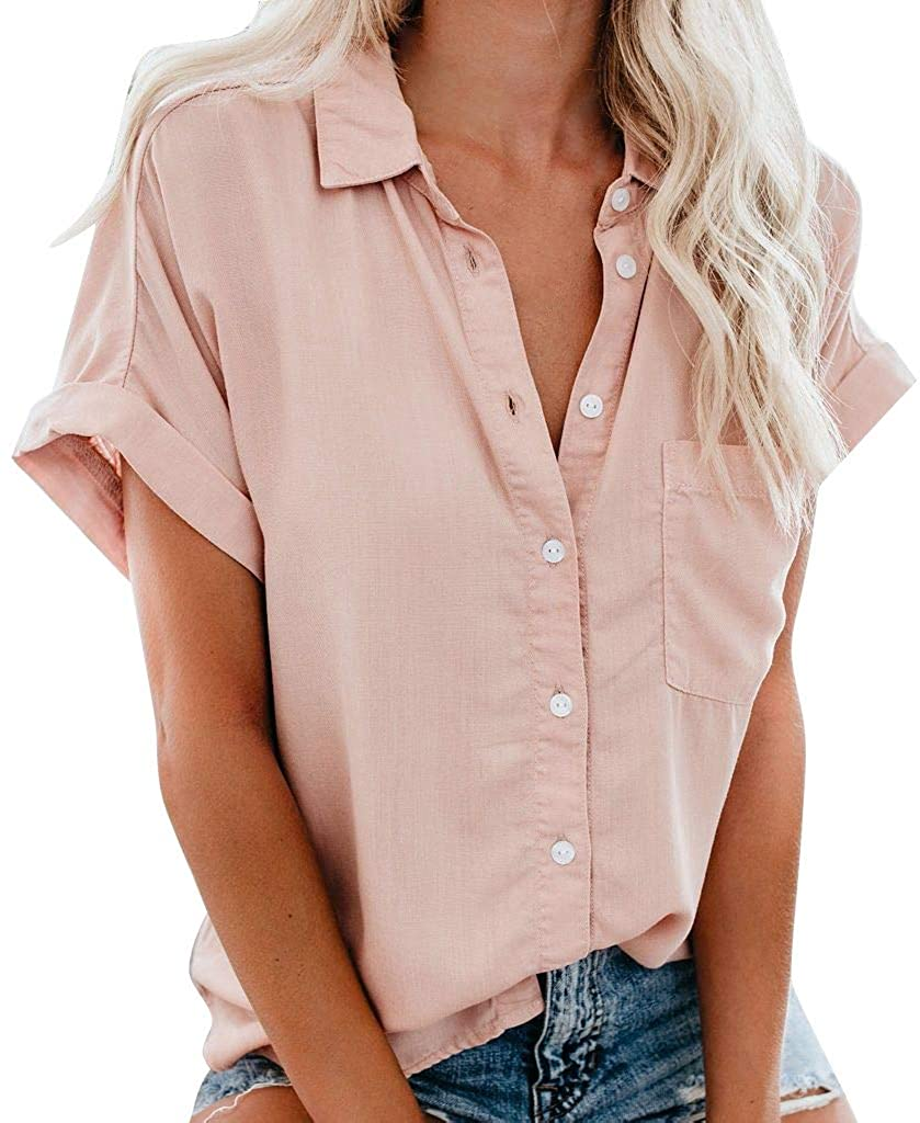 Blouse for Women Turndown New sales Collar Short Up Poc Sleeve with Tulsa Mall Button