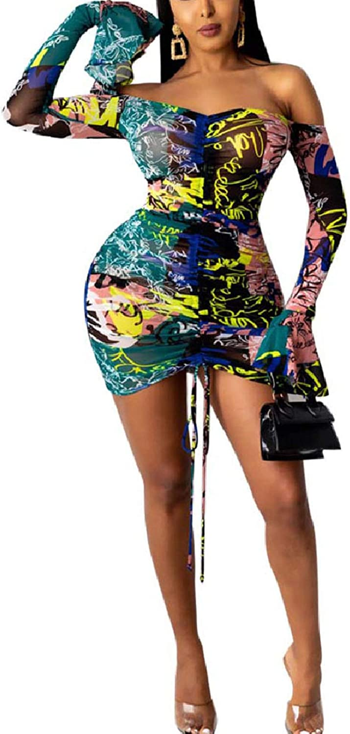 Adogirl Women's Long Sleeve Bodycon Dress - Off Shoulder Sheer Mesh Printed Ruched Mini Dress See Through Club Party Dress