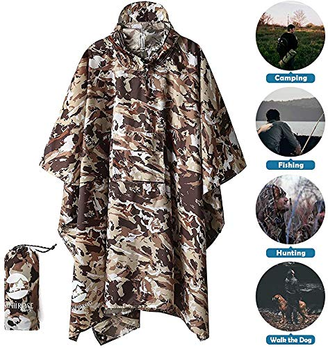 61BN+LsD6QL - 3-in-1 Multi-Functional Waterproof Poncho Hooded Outdoor Adult - Waterproof Raincoat,Sunshade Tarp,Tent Ground Sheet Mat…