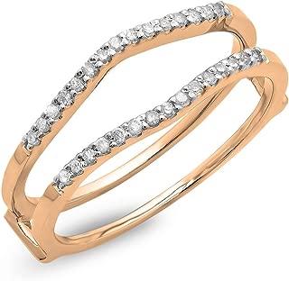 Dazzlingrock Collection 0.18 Carat (ctw) 10K Gold Round Diamond Ladies Wedding Enhancer Double Ring