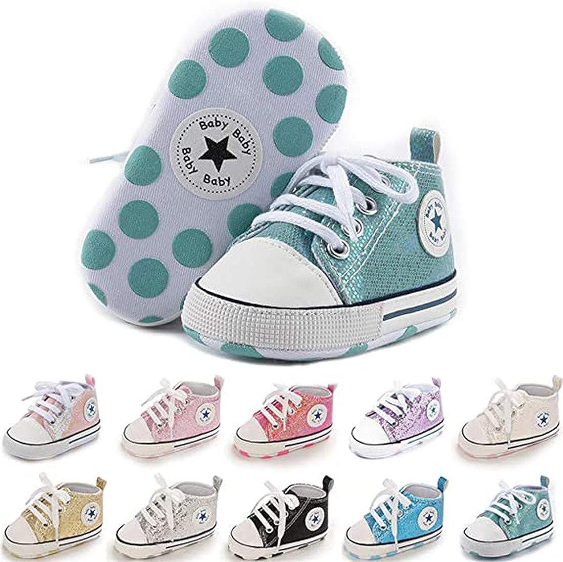 SABATUTU Unisex Baby Boys Girls Shoes Star High Top Ankle Toddler Sneaker Soft Anti-Slip Sole Newborn Infant First Walkers Canvas Denim Crib Shoes (Sequins Green, 6-12 Months)