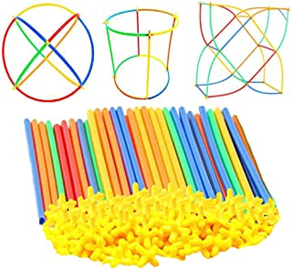 MUMAX Building Construction Toys, 100 pcs Safe Straws and Connectors Set Fun Educational Construction Blocks Best Gift for Kids Boys and Girls