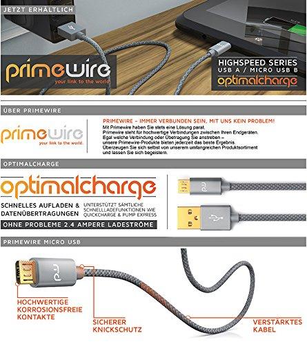 CSL - 1m Micro USB Kabel - 2,4A Schnellladekabel - Nylonkabel Metallstecker - High Speed Ladekabel Datenkabel für Android Smartphones Samsung Galaxy HTC Huawei Sony Nexus Nokia Kindle