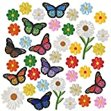 39 Piezas Flores Mariposas Parche Termoadhesivo, Bordados Coser Hierro en Parches, Parches Apliques de Plancha de Costura, Decorativa Pegatina de Parche para Ropa Mochila Gorras Bolsas Jeans