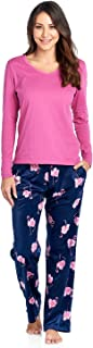 Women's Jersey Knit Long-Sleeve Top and Mink Fleece Bottom Pajama Set