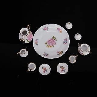 8pcs 1/6 Dollhouse Miniature Dining Ware Porcelain Dish/Cup/Plate Tea Set-Pink Rose