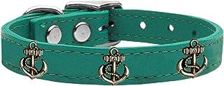 Mirage Pet Products 83-102 Jd18 Bronze Anchor Widget Genuine Leather Dog Collar, Size 18, Jade