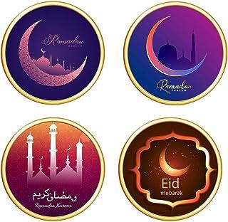 Toyvian 4pcs Eid Mubarak Sticker Islamic Wall Decal Ramadan Mubarak All Decoration Diy Eid Wall Stickers for Arabic Home W...