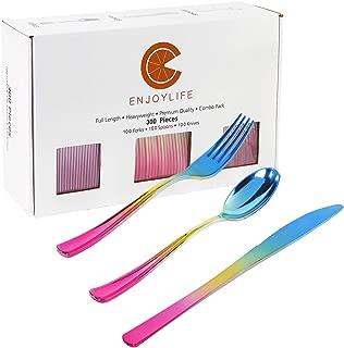 300pcs Gold Plastic Silverware,Party Plastic Flatware, Rainbow Color Include Gold, Blue and Purple, 100 Plastic Forks, 100 Plastic Knives, 100 Plastic Spoons, Enjoylife