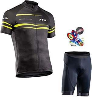 Men's Cycling Jersey Set Short Sleeve Full Zip Moisture Wicking Breathable Quick-Dry,Bike Shirt with 19D Padded Shorts MTB Riding Clothing Kit,C,XS